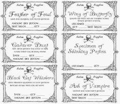 print off. Halloween Apothecary Jars, Halloween Potions, Halloween Bottles, Halloween Labels, Vintage Halloween, Halloween Diy, Apothecary Bottles, Halloween Stuff, Witch Spell Book