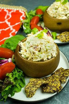 Low Carb keto Chicken Salad recipe - packed with veggies,almonds and seasonings, this delicious salad has less than 1 net gram of carbs per serving! Low Carb Chicken Salad, Chicken Salad Recipes, Sweet Salad Dressings, Low Carb Crackers, Dinner Rolls Recipe, Low Carb Cheesecake, Salad Ingredients, Deep Dish, Low Carb Keto