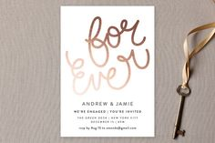 """""""For Ever"""" - Simple Engagement Party Invitations in Midnight by Phrosne Ras."""