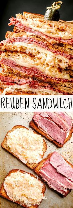 An easy Reuben Sandwich with corned beef, tangy sauerkraut, melted Swiss cheese, and creamy Russian Dressing. The most delicious sandwich you've ever had! Sandwiches For Lunch, Delicious Sandwiches, Soup And Sandwich, Wrap Sandwiches, Sandwich Recipes, Appetizer Recipes, Appetizers, Corned Beef, Sauerkraut