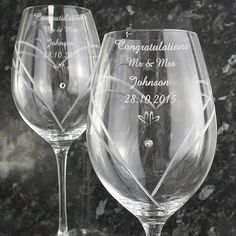 Personalised Hearts Wine Glasses with Swarovski by MagicalGiftShop