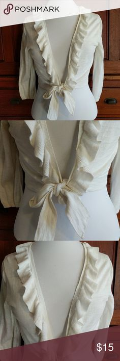 Tommy Hilfiger knit sweater Cream, ties in front, knit, size L Tommy Hilfiger Sweaters Cardigans
