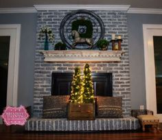s 12 simple tricks to instantly brighten your dark fireplace, fireplaces mantels, Paint outdated brick with a wash of grey