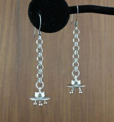UFO earrings  Silver  Spaceship  Flying Saucer  by KLFStudio