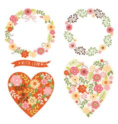 Floral wreath and heart vector love valentine's day designs by Lenlis on VectorStock®