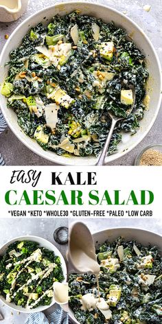 This Kale Caesar Salad is easy to make with fresh lettuce, kale, avocados and a creamy homemade dressing and is the ultimate healthy side dish. It's topped off with crunchy nuts and seeds for a restaurant-worthy salad that's done in 20 minutes! Gluten-free, low carb, paleo, keto and Whole30 compliant. #caesarsalad #vegan #whole30 #keto