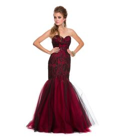 2014 Prom Dresses - Red & Black Strapless Mermaid Gown - Unique Vintage - Prom dresses, retro dresses, retro swimsuits.