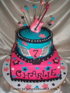 Peggy Does Cake.: Rocker Girl Birthday Cake! (Click photos to enlarge.)