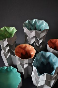 folded vases series by Jasmina Grace http://decdesignecasa.blogspot.it/