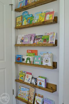 These book ledges are cheap and easy to build, and provide excellent storage for books. They can even be installed behind a door! bookshelf kids small spaces DIY Book Ledges - Easy and Inexpensive Organization - Refresh Living Diy Bookshelf Wall, Cheap Bookshelves, Nursery Bookshelf, Floating Bookshelves, Wall Bookshelves Kids, Bookshelves For Small Spaces, Shelves For Books, Diy Bookshelf Design, Gutter Bookshelf