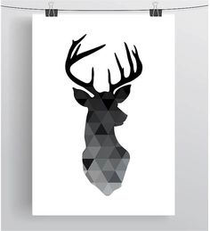 Geometric Deer Print Deer Head Poster Black Deer by PrintAvenue
