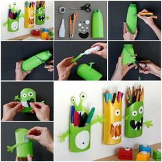Monster pencil holders using shampoo bottles diy diy ideas diy crafts do it yourself kids crafts monsters pencil holders Kids Crafts, Craft Projects, Arts And Crafts, Craft Ideas, Ideas Fáciles, Ideas Para, Project Ideas, Decorating Ideas, Shampoo Bottles