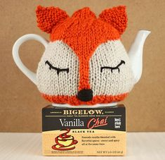 Fox Tea Cosy Knitting Pattern and Tea Proudly with Bigelow Tea is part of Knitting and Crochet Tea Cosies - off access Tea Cosy Knitting Pattern, Baby Booties Knitting Pattern, Knitting Patterns Free, Free Knitting, Free Pattern, Crochet Patterns, Stitch Patterns, Knitted Tea Cosies, Knitted Hats