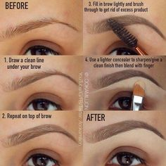 eyebrows growing out ; eyebrows fill in ; eyebrows shaping for beginners Elf Makeup, Eyebrow Makeup Tips, Makeup Guide, Hair Makeup, Makeup Eyebrows, Drawing Eyebrows, Plucking Eyebrows, Eyebrows Goals, Eye Brows