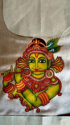 Krishna Saree Painting, Kerala Mural Painting, Fabric Painting, Fabric Art, Krishna Painting, Madhubani Painting, Krishna Art, Hare Krishna, Black Canvas Paintings
