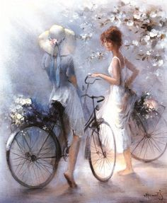 Kai Fine Art is an art website, shows painting and illustration works all over the world. Mosaic Pictures, Art Pictures, Images D'art, Bicycle Art, Fine Art, Decoupage, Watercolor Paintings, Art Gallery, Canvas Art