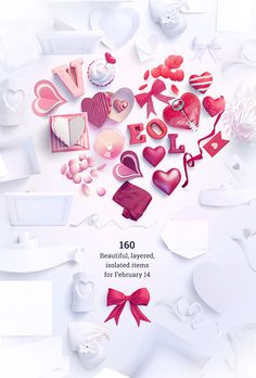 VALENTINES!- St. Valentine's Day Scene Creator - Contains different postcards, valentine's cards, pockets, valentine's hearts, flowers, 3d typography, keys, candies, candles, plates, matches, bows, ribbons, cookies and many other things.