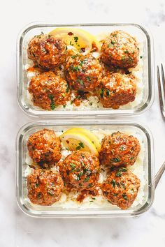 Garlic Butter Chicken Meatballs with Cauliflower Rice Meal Prep - mealprep recipe - Cheesy, juicy and so flavorful! Chicken meatballs are easy to put together for the ultimate meal prep lunch. - recipe by healthylunch 90775748726964496 Clean Eating Snacks, Healthy Snacks, Healthy Recipes, Clean Meals, Healthy Lunch Ideas, Keto Recipes, Easy Healthy Meal Prep, Clean Eating Recipes, Healthy Cooking