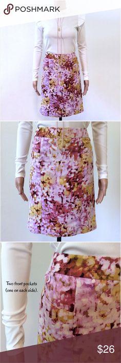 LOFT Purple Yellow Floral Skirt Size 6 LOFT Purple Yellow Floral Skirt Size 6.   New with tags! LOFT Skirts Pencil