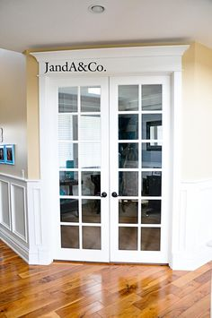 Beautiful Office With French Doors   Crown Moulding On Top
