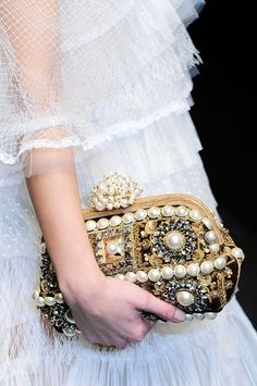 Baroque style jewelry embellished clutch bag | Dolce & Gabbana Fall Winter 2012.