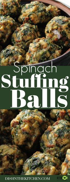 Spinach Stuffing Balls are a classic Holiday side dish that everyone loves. They are a great dish to make ahead a re-warm as the turkey is being carved. #stuffing #dressing #spinachballs #sides #Thanksgiving #Christmas Thanksgiving Dinner Recipes, Vegetarian Thanksgiving, Healthy Dinner Recipes, Vegetarian Recipes, Easter Side Dishes, Side Dishes Easy, Side Dish Recipes, Gourmet Appetizers, Appetizer Recipes