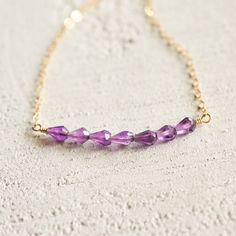 Amethyst necklace bar 14kt gold-filled February birthstone 17 inch length
