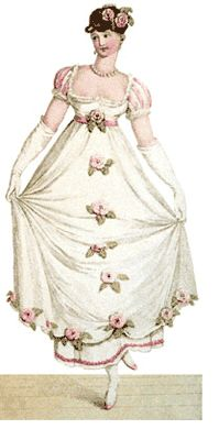 White Italian crepe ball gown over white satin slip with pink velvet trim and Persian roses, 'La Belle Assemblée', French, January 1807. Worn with a lace tucker, white kid gloves, pearl necklace with matching earrings and bracelets, and pink satin shoes with silver trim. The hair is divided behind with part formed in braids, and brought in loose loops over the right eye. The rest is folded round the head in a plain band, and fastened at the back with a pearl cornet comb.