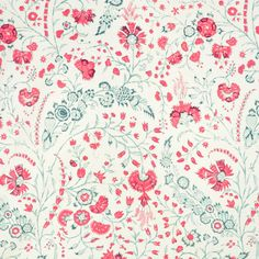 Dianthus Chintz Floral, Linen, Silk, Fabric by Soane Britain Red Fabric, Floral Fabric, Silk Fabric, Hand Printed Fabric, Printing On Fabric, Fabric Wallpaper, Pattern Wallpaper, Fabric Design, Pattern Design