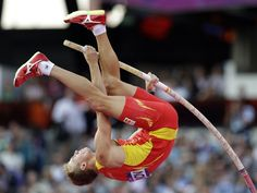 Day 14: Evening Session - Track & Field Slideshows | Spain's Igor Bychkov competes in the men's pole vault final during the athletics in the Olympic Stadium.  (Photo: David J. Phillip / Associated Press) #NBCOlympics