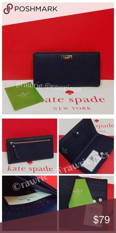 "New Kate Spade navy saffiano leather slim Bifold 100% authentic. French navy saffiano leather with 14-karat light gold plated hardware. Bifold with snap closure. 12 card slots, ID window, and two billfolds. Back zip pocket. Measures 6.6"" x 3.5"". Brand new with tags. Comes from a pet and smoke free home. kate spade Bags Wallets"