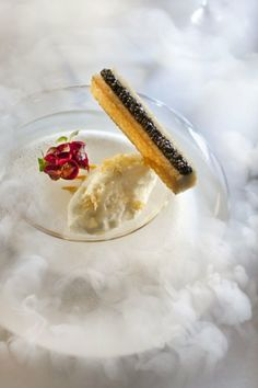 Semi-pris de coquillages, caviar created by chef                             Thierry Marx at the Mandarin Oriental in Paris