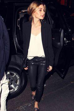 Olivia Palermo - Black Jacket, Black Moto Skinnies, Black Funky Flats