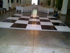 our popular black & white check wedding dance floor