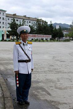 North Korea - Wonsan - Traffic police.