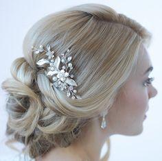 Floral Bridal Hair Clip, Bridal Hair Accessory, Pearl & Rhinestone Bridal Clip, $39.95