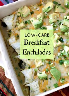 Low-carb breakfast enchiladas made of egg white omelette, avocados, and spinach