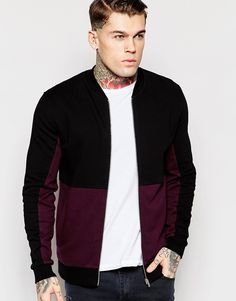 ASOS Jersey Bomber Jacket With Cut & Sew In Burgundy
