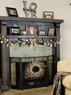 You can also wire a wreath onto your fireplace screen to complement an egg-dotted garland hung on the mantel.