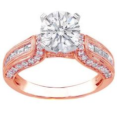 Vintage Horseshoe Diamond Engagement Ring Baguette Diamonds Milligrained band  In Rose Gold - ES647RG