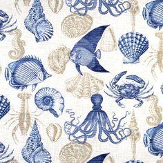 seashells // fish // octopus // blue // tan