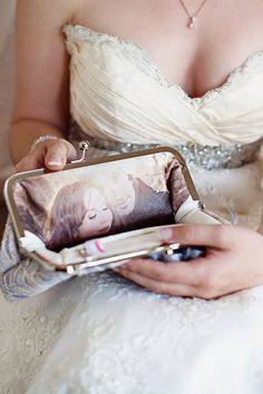 Personalized bridal clutch! how cool is this!   bridal or bridesmaids' clutches with a photo to a a unique memento of your big day! We can include your engagement photo or a photo you treasure onto the lining of a clutch bag. only $22 (for photo processing - clutch purchased separately)
