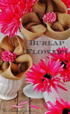 Burlap-Flower  Thought of you @Brittany Caspers and @Kristen Ongstad.  Think we need to make these!! ;)