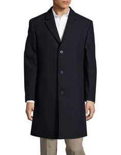 Calvin Klein Textured Wool-Blend Coat Men's Navy 40 Regular