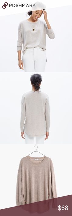 Madewell Merino Shirttail Sweater A soft, swingy merino sweater with a cool exaggerated shirttail hem. Light, easy and a soon-to-be essential.True color is shown in the third picture.   •Size S  •New with tag   •NO TRADES/HOLDS Madewell Sweaters Crew & Scoop Necks