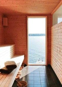 one of the few things I miss about Christmas in Sweden . the annual Sauna bath and then swim in the ocean . sometimes one had to make a hole in the ice . sometimes just brush away the slush . Modern Saunas, Sauna House, Sauna Design, Outdoor Sauna, Finnish Sauna, Spa Rooms, Scandinavian Home, Pool Houses, My Dream Home