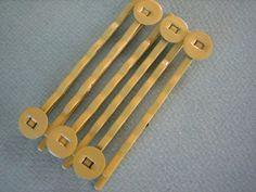 10PCS  Yellow   Hair Pins  8MM Round Pad  Jewelry by ZARDENIA, $2.50