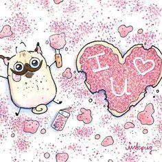 funny Valentine with pugs and sprinkles, cute pug love cards by Inkpug Pug Valentine, Pug Illustration, Pug Cartoon, Pugs And Kisses, Pug Art, Boy Dog, Pug Puppies, Pug Love, Wallpaper