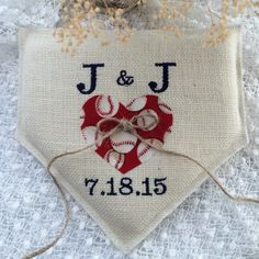 Navy thread with red baseball heart on ivory burlap, AWESOME ring pillow