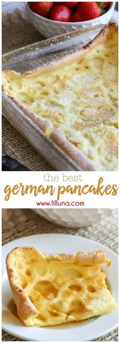 German Pancakes – a breakfast family favorite recipe we love to make! They'r… German Pancakes – a breakfast family favorite recipe we love to make! They're EASY too! German Breakfast, What's For Breakfast, Breakfast Pancakes, Breakfast Dishes, Breakfast Recipes, Pancake Recipes, Breakfast Skillet, Pancakes In The Oven, Pancakes For Dinner